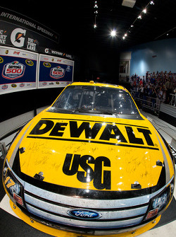 Champion's breakfast: Matt Kenseth's and crew members signatures on the 2009 Daytona 500 Roush Fenway Racing Ford on display inside the Daytona 500 Experience building where it will remain for a full year