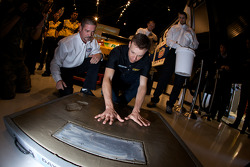 Champion's breakfast: Matt Kenseth, Roush Fenway Racing Ford, has his hands imprint on the Daytona 500 champion cement plate
