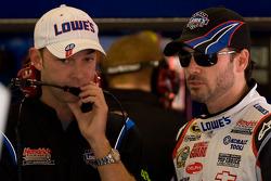 Jimmie Johnson, Hendrick Motorsports Chevrolet, talks with crew chief Chad Knauss
