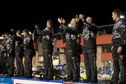 Roush Fenway Racing Ford crew members celebrate the win of Matt Kenseth