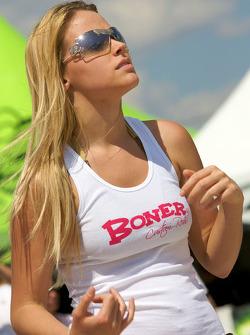 Beach volley ball game: a charming Boner Custom Rods girl