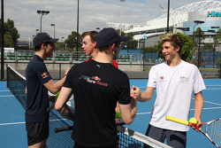 Sebastien Buemi, Scuderia Toro Rosso and Sébastien Bourdais, Scuderia Toro Rosso playing tennis