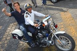 Stefano D'Aste, Wiechers-Sport arriving with a policeman on a motorbike