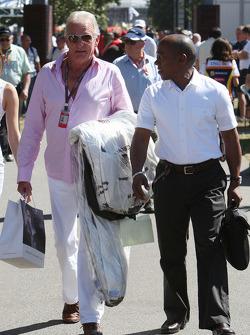 John Button, father of Jenson Button, Brawn GP with Anthony Hamilton, Father of Lewis Hamilton