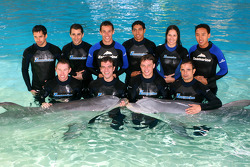 A1GP drivers swim with dolphins