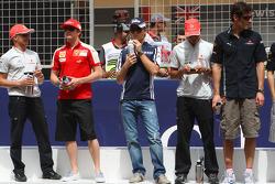 Heikki Kovalainen, McLaren Mercedes, Kimi Raikkonen, Scuderia Ferrari, Nico Rosberg, Williams F1 Team, Lewis Hamilton, McLaren Mercedes and Mark Webber, Red Bull Racing