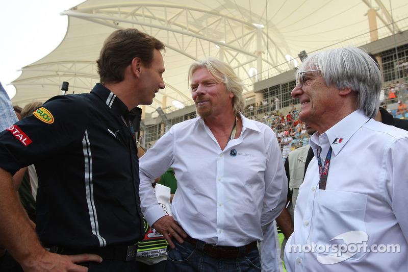 Christian Horner, teambaas Red Bull Racing, Sir Richard Branson CEO Virgin en Bernie Ecclestone, President en CEO Formula One Management