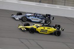 Dario Franchitti, Target Chip Ganassi Racing and Sarah Fisher, Sarah Fisher Racing run together