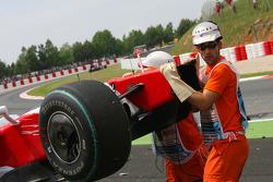 Car of Jarno Trulli, Toyota F1 Team after crashing, crash