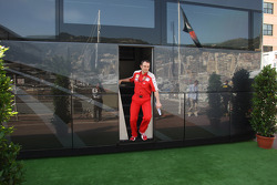 Stefano Domenicali, Scuderia Ferrari, Sporting Director coming out of Bernie Ecclestone's Motorhome