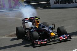 Smoke coming from the car of Sebastian Vettel, Red Bull Racing