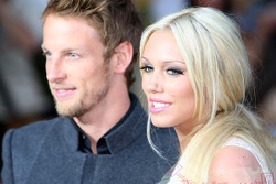 Jenson Button, Brawn GP with a girl at the Fashion show