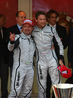 2nd place Rubens Barrichello, Brawn GP with 1st place Jenson Button, Brawn GP