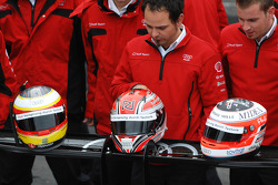 Helmets of Timo Bernhard, Romain Dumas and Alexandre Prémat