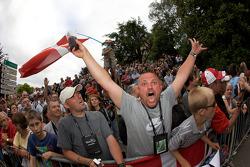 Crazy Danish fans wait for Tom Kristensen