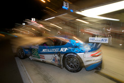Pit stop for #66 Jetalliance Racing Aston Martin DBR9: Alex Müller, Lukas Lichtner-Hoyer, Thomas Gruber