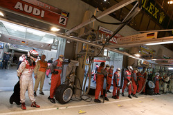 Romain Dumas and Audi Sport team members ready for a pit stop