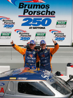 Victory lane: race winners Max Angelelli and Brian Frisselle celebrate