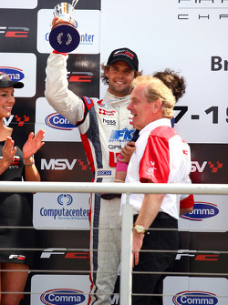 Jonathan Palmer, CEO Motorsport Vision, with Andy Soucek who finished second in race 1