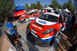 The Ford Fiestas are worked on prior to the start of the Hillclimb