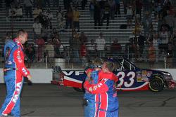 Race winner Ron Hornaday celebrates