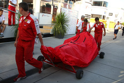 Ferrari bring a new Ferrari F2009 tub into the paddock
