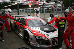 Pit stop practice for #111 Phoenix Racing Audi R8 LMS: Marcel Fässler, Henri Moser, Alexandros Margaritis, Marc Basseng