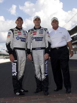 Race winner Jimmie Johnson, Hendrick Motorsports Chevrolet celebrates with crew chief Chad Knaus and car owner Rick Hendrick