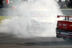 Jonny Adam spins behind safety car