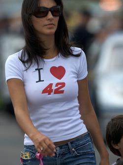 Connie Montoya, wife of Juan Pablo Montoya, Earnhardt Ganassi Racing Chevrolet