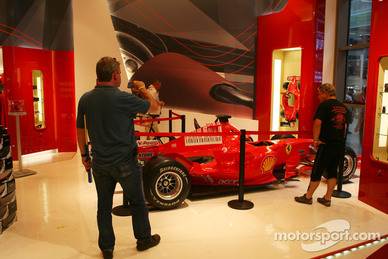 Ferrari F1 car in the Ferrari store in the fan zone boulevard, part