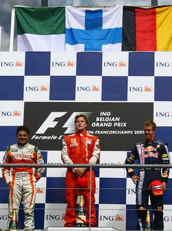 l-r, 2nd, Giancarlo Fisichella, Force India F1 Team, 1st, Kimi Raikkonen, Scuderia Ferrari, 3rd, Sebastian Vettel, Red Bull Racing