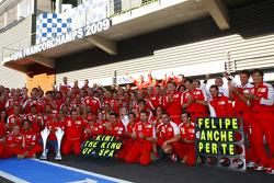 Scuderia Ferrari, Team Celebration, Kimi Raikkonen, Scuderia Ferrari, Luca Badoer, Test Driver, Scuderia Ferrari, Stefano Domenicali, Scuderia Ferrari, Sporting Director