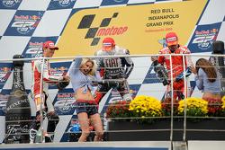 Podium: race winner Jorge Lorenzo, Fiat Yamaha Team, second place Alex De Angelis, San Carlo Honda Gresini, third place Nicky Hayden, Ducati Marlboro Team