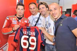 Nicky Hayden, Ducati Marlboro Team with Bologna FC football players Salvatore Lanna, Luigi Lavecchia and Francesco Valiani