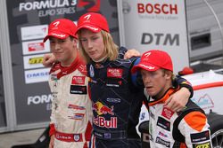 Second place Alexander Sims, Mücke Motorsport, Dallara F308 Mercedes, race winner Brendon Hartley, Carlin Motorsport, Dallara F308 Volkswagen, third place Sam Bird, Mücke Motorsport, Dallara F308 Mercedes
