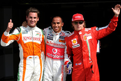 Pole winner Lewis Hamilton, McLaren Mercedes with second place Adrian Sutil, Force India F1 Team and third Kimi Raikkonen, Scuderia Ferrari