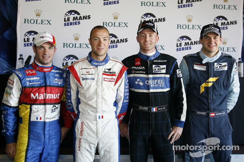 LMP1 and overall pole winner Nicolas Lapierre, LMGT1 pole winner Laurent Groppi, LMP2 pole winner Ol