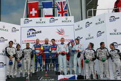 LMP1 podium: class and overall winners Olivier Panis and Nicolas Lapierre, second place Andrea Belicchi, Marcel Fässler and Nicolas Prost, third place Jan Charouz, Tomas Enge and Stefan Mücke
