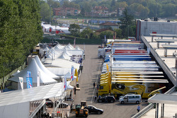 The Imola Paddock and transporters