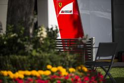 Ferrari logo in the paddock