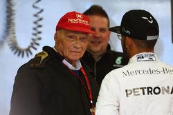 Niki Lauda, Mercedes F1 Chef mit Lewis Hamilton, Mercedes AMG F1 Team