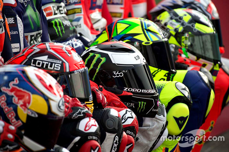 Helmets of the riders