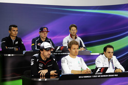 The FIA Press Conference (from back row (L to R): Pascal Wehrlein, Manor Racing; Max Verstappen, Scuderia Toro Rosso; Romain Grosjean, Haas F1 Team; Fernando Alonso, McLaren; Nico Rosberg, Mercedes AMG F1; Felipe Massa, Williams