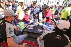 Nico Hulkenberg, Sahara Force India F1 and Sergio Perez, Sahara Force India F1 sign autographs for the fans