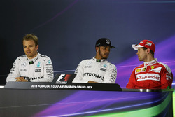 Press conference: Lewis Hamilton, Mercedes AMG F1 Team, Nico Rosberg, Mercedes AMG F1 Team and Sebastian Vettel, Ferrari