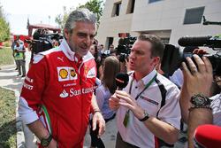 Maurizio Arrivabene, Ferrari Team Principal with Craig Slater, Sky F1 Reporter