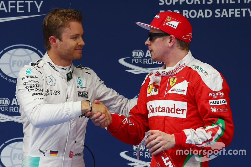 Polesitter Nico Rosberg, Mercedes AMG F1 Team, third place Kimi Raikkonen, Ferrari