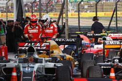 Kimi Raikkonen, Ferrari with team mate Sebastian Vettel, Ferrari in parc ferme