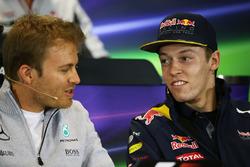 Nico Rosberg, Mercedes AMG F1 Team and Daniil Kvyat, Red Bull Racing in the press conference
